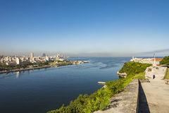 Havana inlet view. View over the inlet to Havana bay from Fortress of San Carlos de la Cabaña. Havana, Cuba. Old Havana and its fortification system is a UNESCO Stock Image