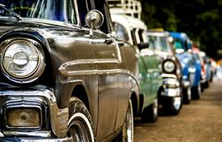 American old cars taxis waiting in the line for the tourists and clients royalty free stock photos
