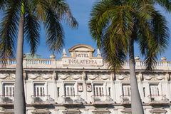 HAVANA, KUBA - 30. JANUAR 2011: Das historische Hotel Inglaterra fand Stockbild