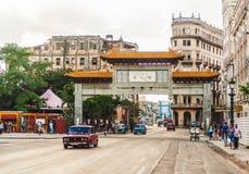 HAVANA, KUBA - 20. OKTOBER 2017: Havana Old Town und lokale einzigartige Architektur Stockfotografie