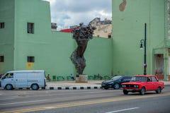 HAVANA, KUBA - 20. OKTOBER 2017: Havana Old Town und Malecon-Bereich mit Monument Lizenzfreie Stockbilder