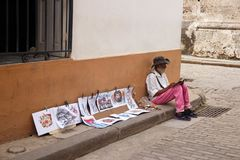 Street artist in Havana, Cuba stock photos