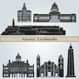 Havana landmarks and monuments. On blue background in editable vector file Royalty Free Stock Photo