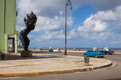 Havana Malecon is a broad esplanade  along the coast in Havana. Havana,Cuba - January 22,2017: Havana Malecon. The Malecon officially Avenida de Maceo is a broad Royalty Free Stock Photos