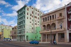 Havana Malecon.Cuba. Havana,Cuba - January 21,2017: Havana Malecon. The Malecon officially Avenida de Maceo is a broad esplanade, roadway and seawall which Royalty Free Stock Image