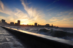 Havana Malecon at Dusk Royalty Free Stock Photography