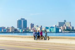 Havana Malecon - view of the Centre and Vedado. HAVANA, CUBA - DECEMBER 2, 2013:  Havana Malecon - view of the Centre and Vedado. Panorama of Havana's, Cuba Stock Images