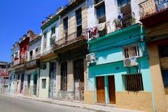 Havana Neighborhood in Colorful Disrepair. Colorful but decaying downtown Havana, Cuba neighborhood Stock Photography