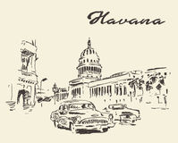 Havana old cars vintage illustration drawn sketch Royalty Free Stock Photo