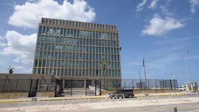 HAVANA, CUBA - OCTOBER 20, 2017: United States of America Embassy. Havana Old Town with People. United States of America Embassy stock video