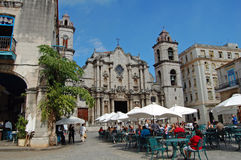 Havana restaurant and cathedral Royalty Free Stock Photos