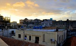Havana Rooftops. Sunset over rooftops in Havana, Cuba Royalty Free Stock Photography