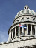 Havana's Capitol dome, and cuban flag. Havana's Capitol dome, with cuban flag (vert Royalty Free Stock Photo