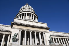 Havana's Capitolio. Wide angel view of Havana's Capitolio building with deep, clear blue sky Stock Images