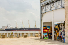 Havana's dock. Panoramic view of Havana Harbor, where most vessels in Cuba make port stock images