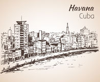 Havana  sketch. Cuba. Havana sketch. Cuba. Isolated on white background Stock Photos