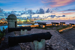 Havana skyline and bay entrance taken from el Morro Fortress Stock Photos
