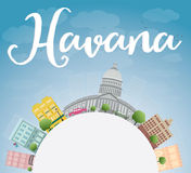 Havana Skyline with Color Building, Blue Sky and copy space Royalty Free Stock Photography