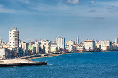 The Havana skyline facing the sea Stock Photography