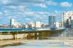 The Havana skyline and the famous Malecon seawall Royalty Free Stock Photos