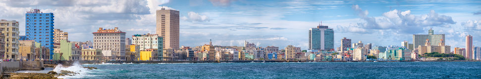 The Havana skyline and the famous seaside Malecon avenue. High resolution panoramic view of the Havana skyline and the famous seaside Malecon avenue Royalty Free Stock Photography
