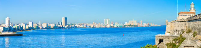 The Havana skyline including el Morro castle Royalty Free Stock Images