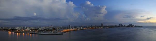 Havana skyline panorama at dusk. Panoramic view of Havana skyline and waterfront at nightfall Royalty Free Stock Photos