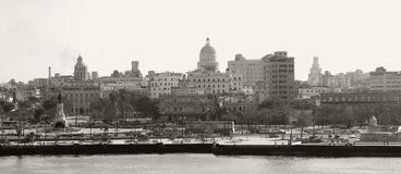 Havana Skyline - Sepia toned Royalty Free Stock Photos