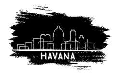 Havana Skyline Silhouette Abbozzo disegnato a mano Fotografia Stock