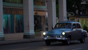 Havana street. Classic view with old cars from the Havana streets stock footage