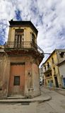 Havana street with eroded building Royalty Free Stock Photo