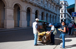 Havana street seller vending fruits Royalty Free Stock Image