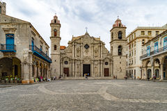 Havana streets - cathedral Royalty Free Stock Photos