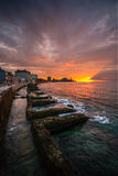 Havana. Sunset in Havana waterfront, Cuba royalty free stock photo
