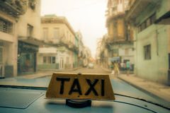 Havana taxi. Taken downtown havana centrum, old car from 1959 now driving everyday as a taxi Royalty Free Stock Image