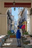 Havana, view from Café to small street and Capitolio in Havana, Cuba stock images