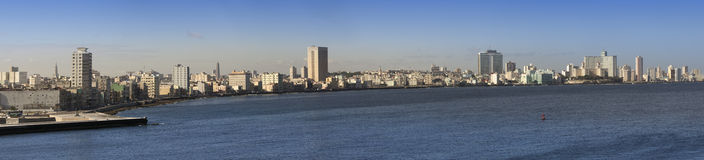 Havana. View of the  city through a bay ,panorama Royalty Free Stock Images