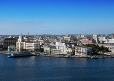 Havana. View of the old city through a bay Royalty Free Stock Photo