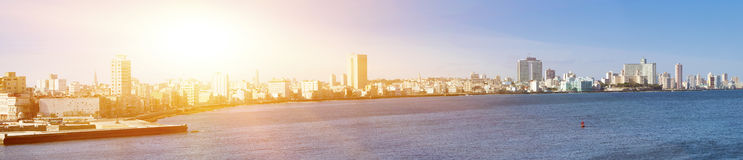 Havana. View of the old city through a bay from Morro`s fortress. Panorama Royalty Free Stock Photos