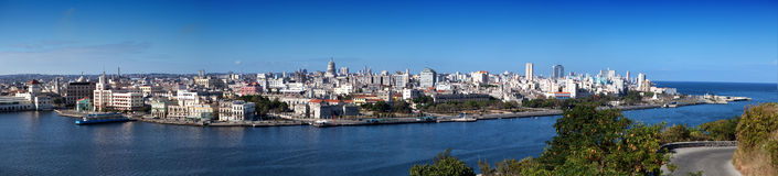 Havana. View of the old city through a bay from Morro's fortress. Panorama in a sunny day Royalty Free Stock Image