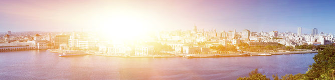 Havana. View of the old city through a bay from Morro`s fortress. Panorama,  toning Royalty Free Stock Image