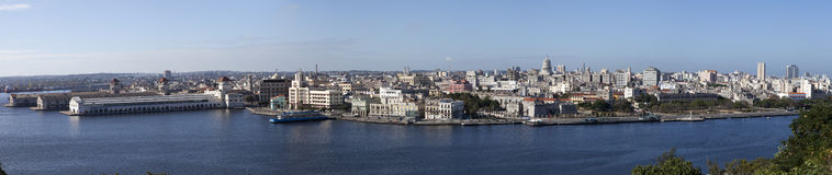 Havana. View of the old city through a bay ,panorama Royalty Free Stock Photos