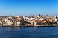 Havana. View of the old city through a bay in a sunny day Stock Photos