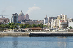 Havana waterfront with fortifications. Partial view of Havana waterfront with fortifications, Cuba Royalty Free Stock Photos