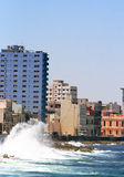 Havana - Waves crashing against Malecon Stock Images