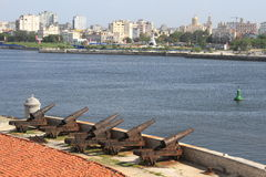 Havanas morro Schlosskanonen Stockfotos