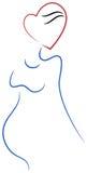 Havandeskap med förälskelse royaltyfri illustrationer