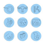 Havandeskap och barnsbörd Vektorlinje symboler vektor illustrationer
