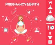 Havandeskapinfographicsuppsättning med reproduktionssymboler och diagram Royaltyfri Foto