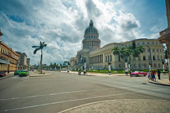 HAVANNACIGARR KUBA - OKTOBER 14, 2016 Sikt av Havana Capitol byggnad, oss Royaltyfria Bilder